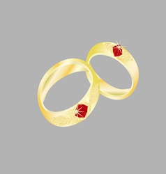 Wedding rings of red stones vector image