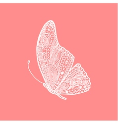 white hand drawing doodle butterfly vector image