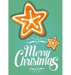 Christmas gingerbread cookie star festive card vector