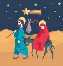 Mary and joseph flee to egypt vector