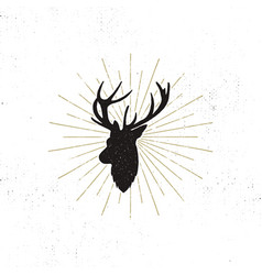 deer shape with sunbursts silhouette animal vector image