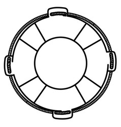 monochrome silhouette of flotation hoop with rope vector image