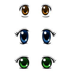 Set of anime style eyes isolated on white vector