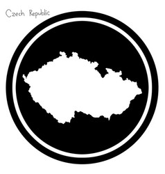 White map of czech republic on black vector