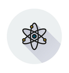 Atom icon on round background vector