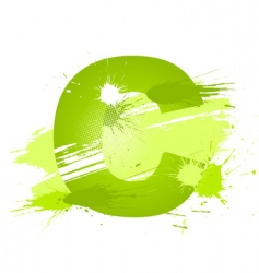 Paint splashes font letter c vector