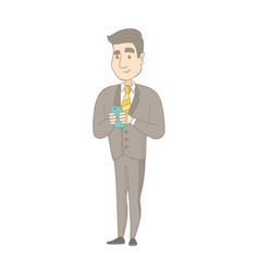 Caucasian businessman holding a mobile phone vector