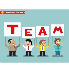 Office personnel holding team sign vector