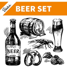 Sketch Oktoberfest set of beer vector image