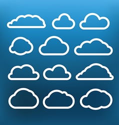 White cloud icons clip-art on color background vector image
