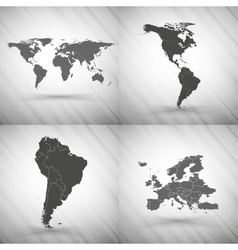World maps set on gray background grunge texture vector