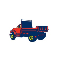 Flatbed truck woodcut vector