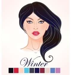 Seasonal skin color types for women winter vector