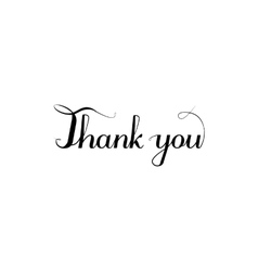 Thank you inscription calligraphy style vector