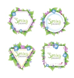 Set of floral spring banners vector