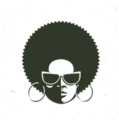 Front view portrait of a black woman face with vector