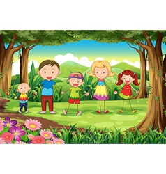 A family at the jungle vector image vector image