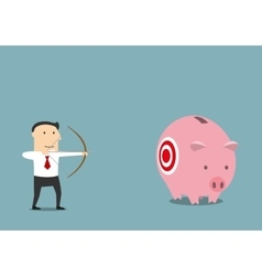 Businessman hunting for someone elses piggy bank vector image vector image