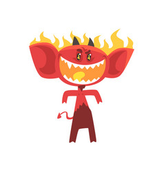 Cartoon flaming fire devil isolated on white vector