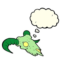 Cartoon magic ram skull with thought bubble vector