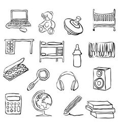 Children room doodle images vector