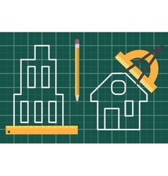 Construction plan blueprint vector