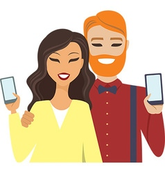 couple holding smartphones vector image vector image