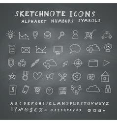 Doodle Icons on Blackboard vector image vector image
