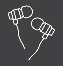 earphones line icon music and instrument vector image vector image