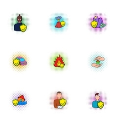 Emergency icons set pop-art style vector image