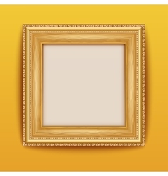 Empty gold frame hanging on the wall vector image vector image