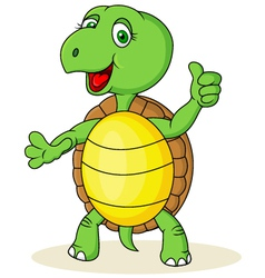 Funny turtle with thumb up vector image vector image
