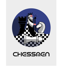 Logo game chess in a flat style vector