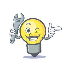 Mechanic light bulb character cartoon vector