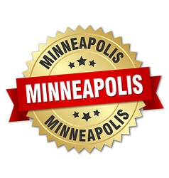 Minneapolis round golden badge with red ribbon vector
