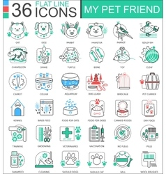 my pet friend flat line outline icons for vector image vector image