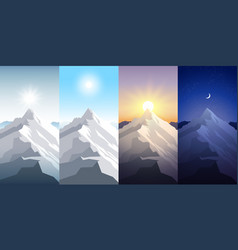 nature mountain set a midday sun dawn sunset vector image