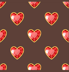 red heart golden jewellery seamless pattern vector image