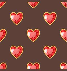 Red heart golden jewellery seamless pattern vector