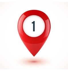 Red realistic 3D glossy map point symbol vector image vector image