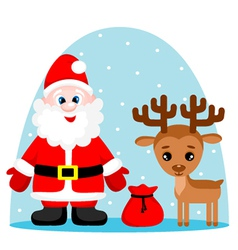 Santa Claus and deer vector image