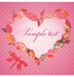 Scrap-booking valentine card with frame of patch vector