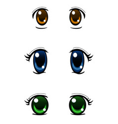 Set of anime style eyes isolated on white vector