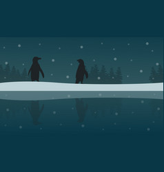 Silhouette of penguin with reflection scenery vector