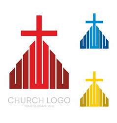 Stylish cross of jesus christ among graphic vector