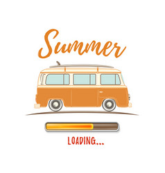 Summer loading vintage retro camper van vector
