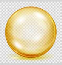 transparent yellow sphere with shadow vector image vector image