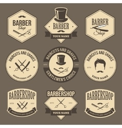 Vintage barbershop labels vector image