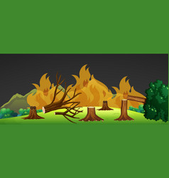 wild fire in forest at night vector image vector image