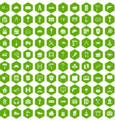 100 construction icons hexagon green vector